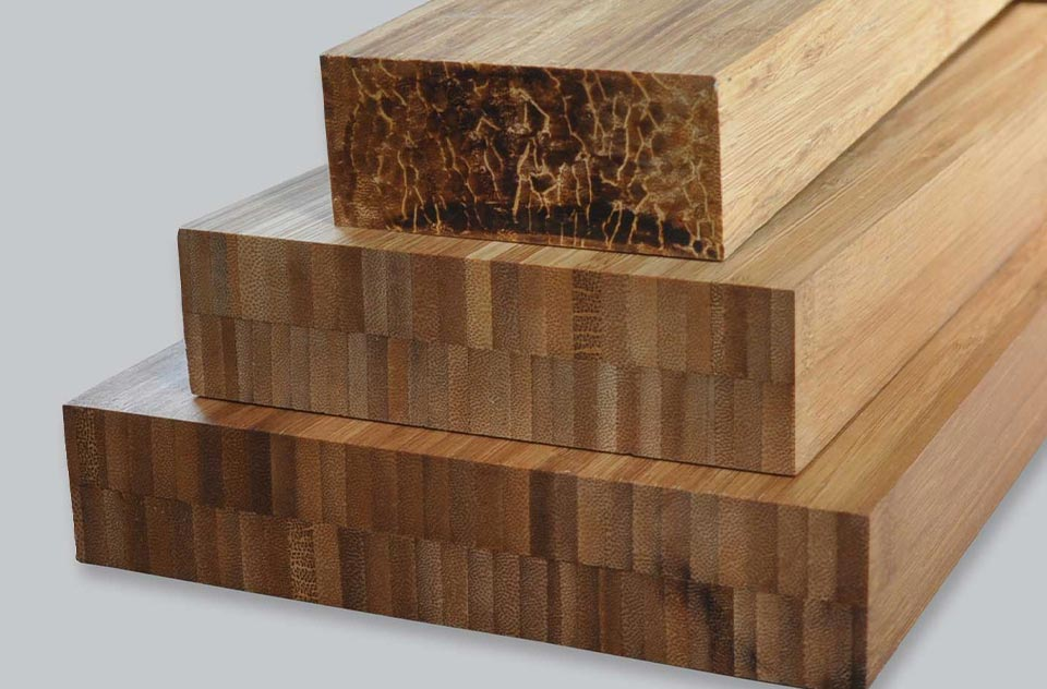 Dimensional lumber made from 100% repidly renewable bamboo
