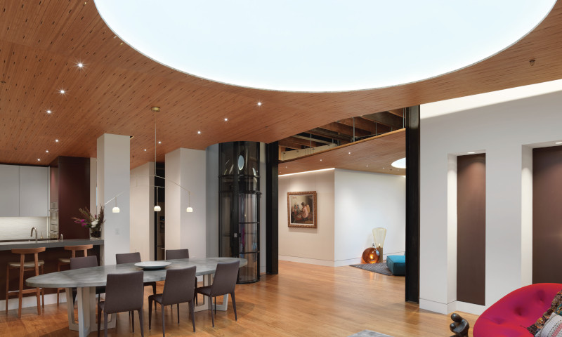Plyboo Sound Ceiling panels to add acoustica; control to open public spaces.
