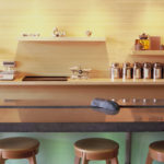 plywood edge grain natural tea shop cheng design