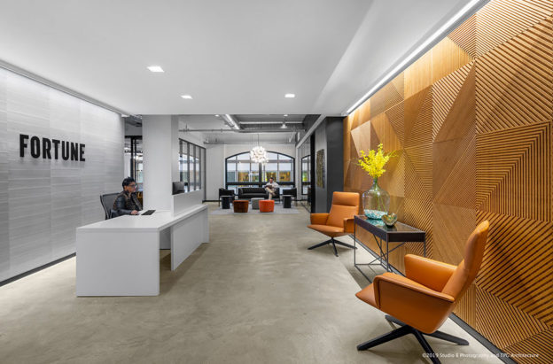 Fractal® bamboo wall panel installation at Fortune Magazine - Plyboo.com