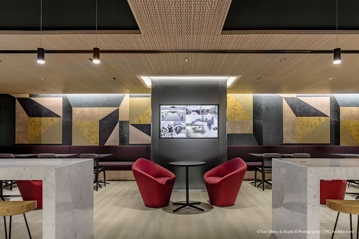 Linear sound ceiling collection helps control sound in bars and restaurants