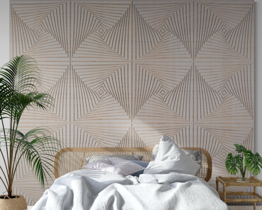 bed with Fog wall paneling