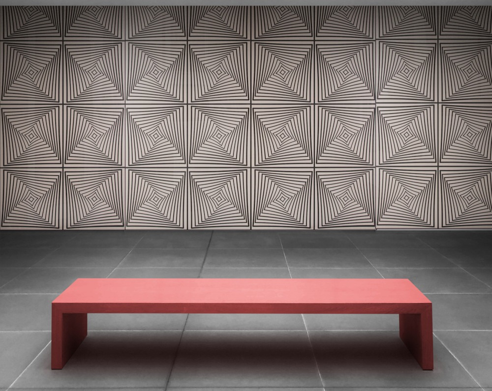 red bench with Greige Noir wall paneling