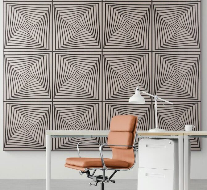 office chair with Griege Noir wall paneling