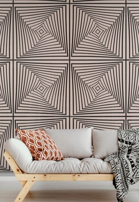 sofa with Greige Noir wall paneling