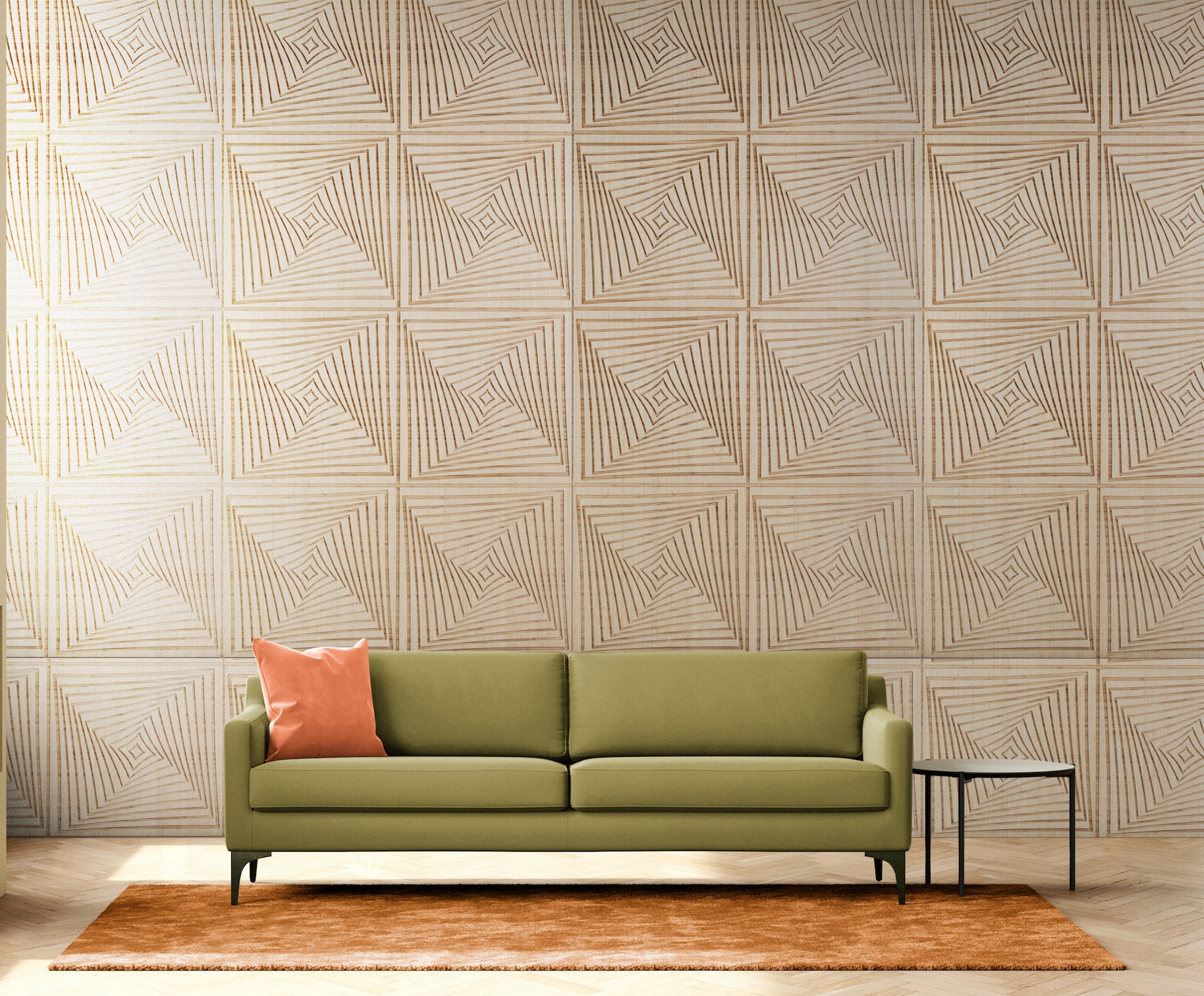 green couch with Amber wall paneling